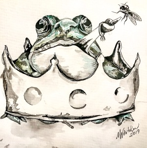 Ink illustration of a Frog with a diamond ring on his tongue that is tied in a knot.  The frog is trying to catch a fly while he sits in the middle of a crown