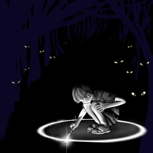 A boy drawing a magical circle with a stick to protect him from the wild beasts with glowing eyes watching him in the dark.