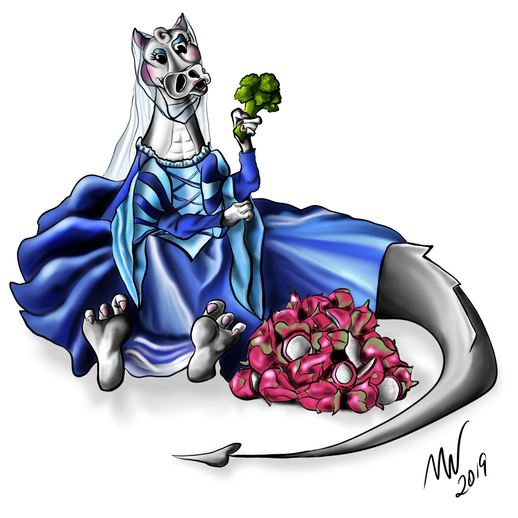 Digital Illustration of a dragon in a princess dress sitting on the ground and holding a bouquet of broccoli.  A large pile of dragon fruit is beside her