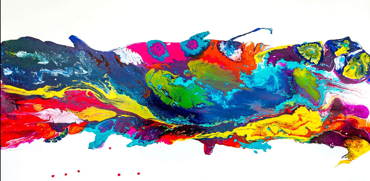 Multi-colored abstract painting of colors swirled together on a horizontal field of white.
